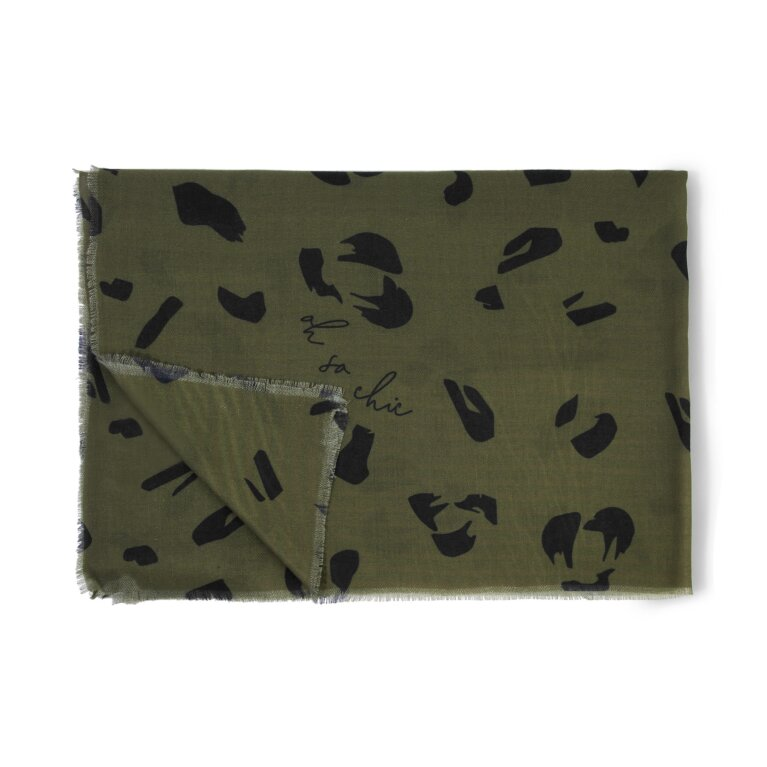Printed Scarf Large Leopard Print in Olive