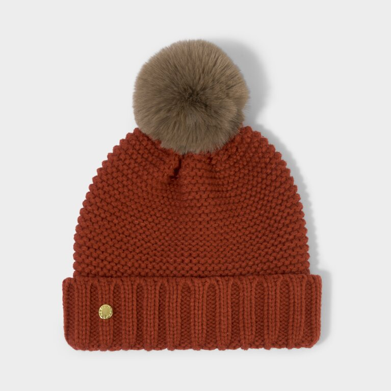 Chunky Knit Hat in Red