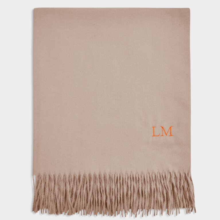 Thick Plain Scarf in Taupe