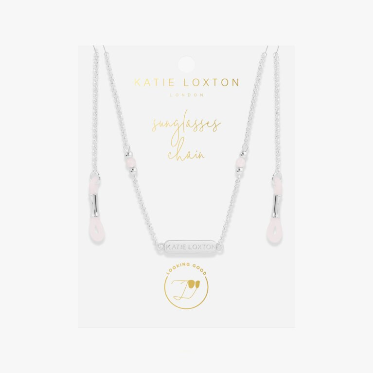 Rose Quartz Glasses Chain In Silver