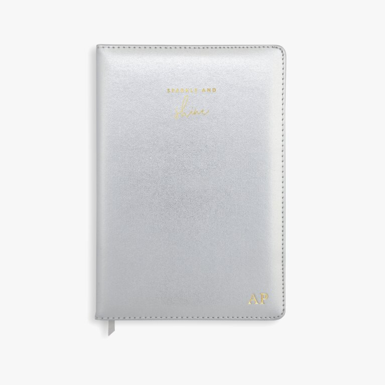 Pu Notebook Sparkle And Shine In Metallic Silver