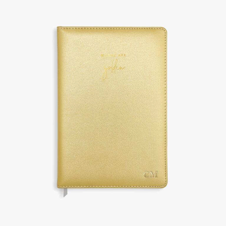 Pu Notebook Words Are Golden In  Metallic Gold