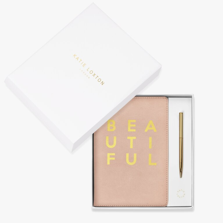 Beautifully Boxed A5 Notebook And Pen Set Beautiful In Pink