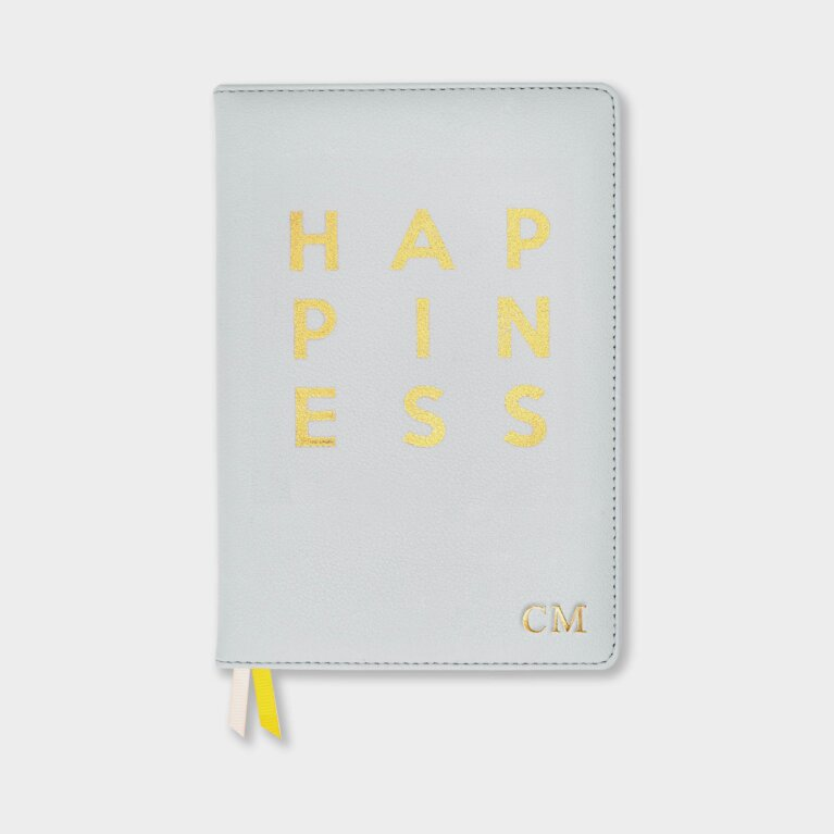 Beautifully Boxed A5 Notebook And Pen Set Happiness In Grey