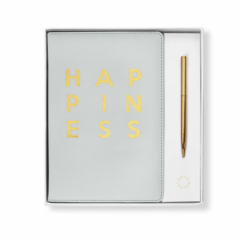 Beautifully Boxed A5 Notebook and Pen Set | Happiness | Grey