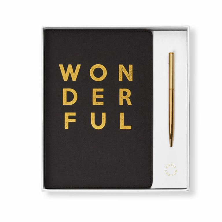 Beautifully Boxed A5 Notebook and Pen Set | Wonderful | Black