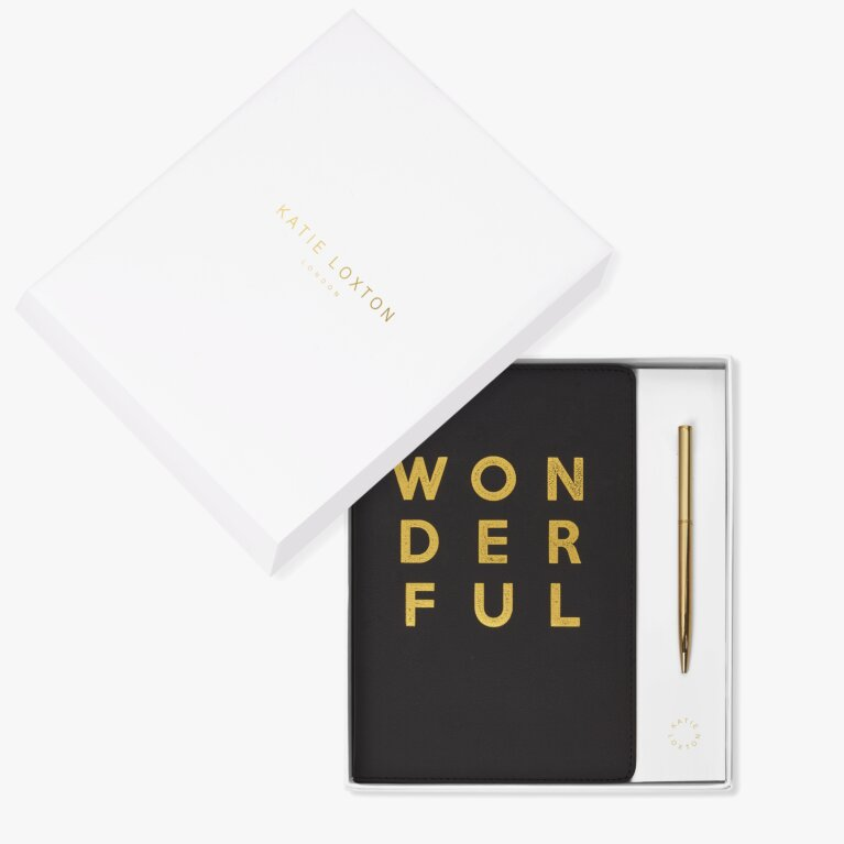 Beautifully Boxed A5 Notebook And Pen Set Wonderful In Black