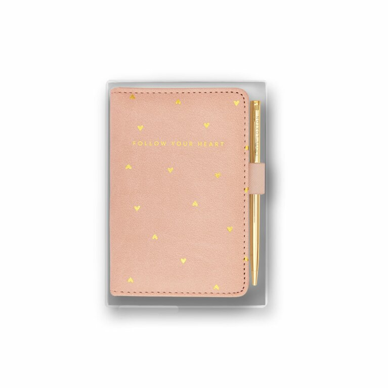 Beautifully Boxed Mini Notebook and Pen Set | Follow Your Heart | Pink