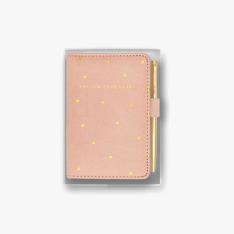 Beautifully Boxed Mini Notebook And Pen Set Follow Your Heart In Pink