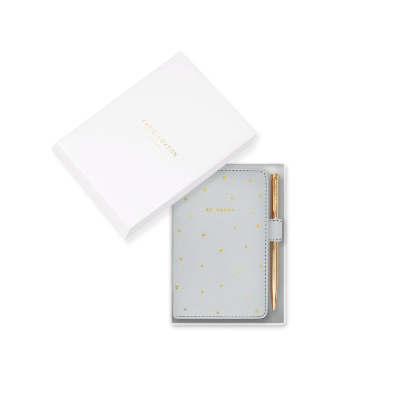 Beautifully Boxed Mini Notebook And Pen Set Be Happy In Grey
