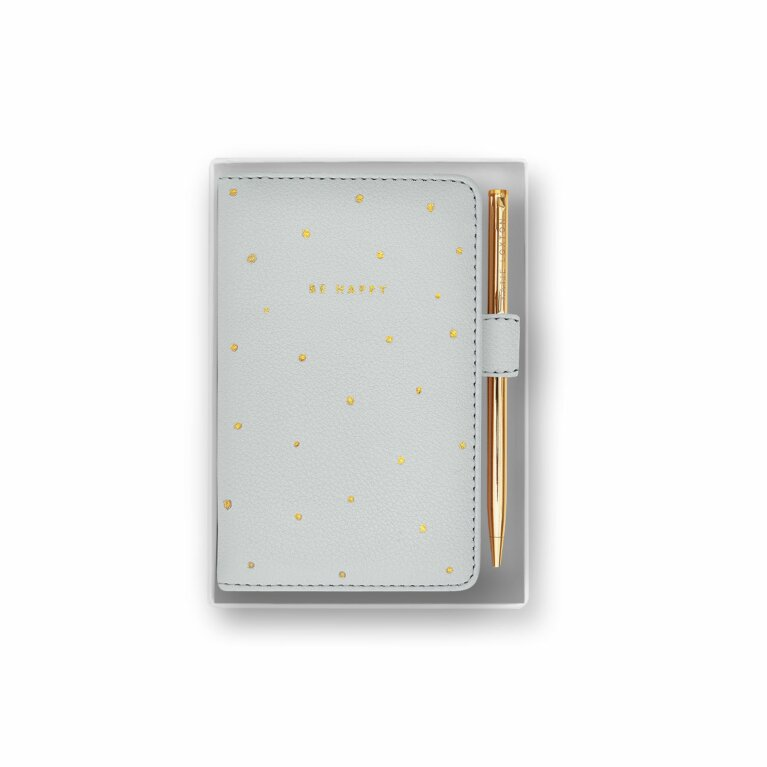 Beautifully Boxed Mini Notebook and Pen Set | Be Happy | Grey