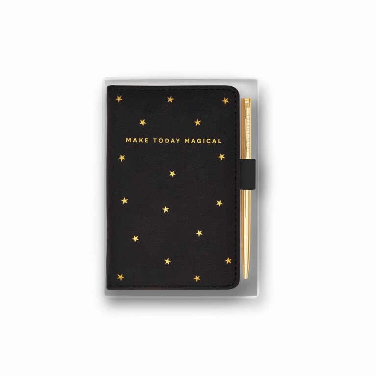 Beautifully Boxed Mini Notebook and Pen Set | Make Today Magical | Black