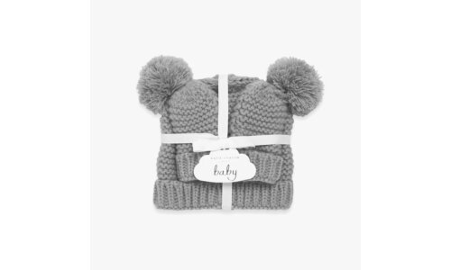 Baby Hat and Mittens Set | Grey