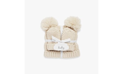Baby Hat and Mittens Set | Cream