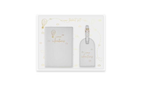 Baby Passport Holder and Luggage Tag  Gift Set | Little Adventures | Grey