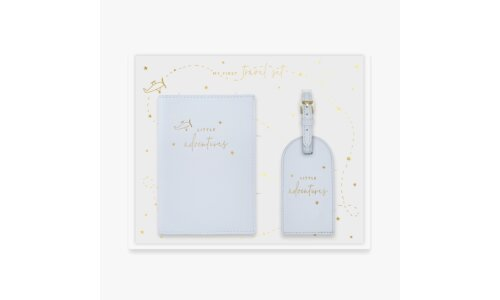 Baby Passport Holder and Luggage Tag Gift Set | Little Adventures | Blue