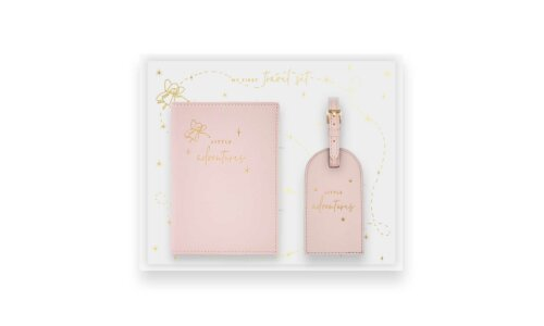 Baby Passport Holder and Luggage Tag Gift Set | Little Adventures | Dusty Pink