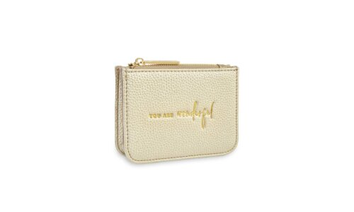 Stylish Structured Coin Purse | You Are Wonderful | Gold