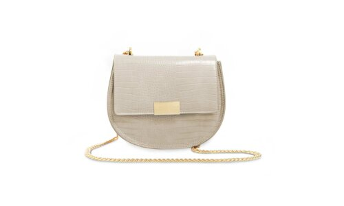 Celine Faux Croc Saddle Bag | Stone