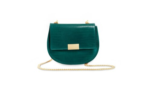 Celine Faux Croc Saddle Bag | Forest Green