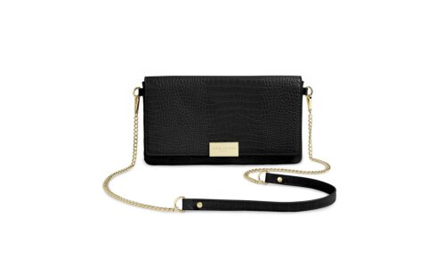 Celine Faux Croc Fold Over Crossbody | Black