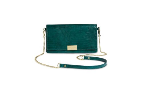 Celine Faux Croc Fold Over Crossbody | Forest Green