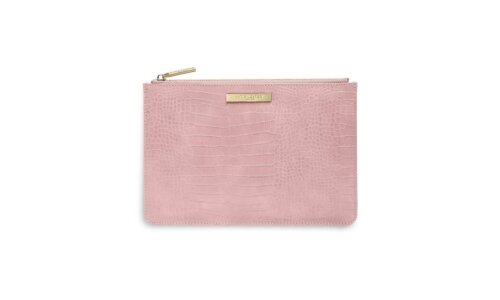 Celine Faux Croc Perfect Pouch | Pink