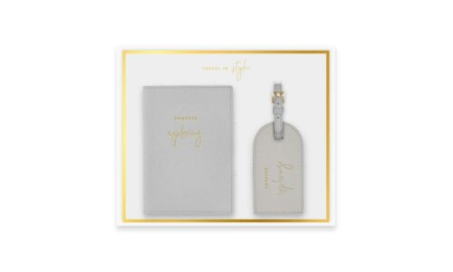 Boxed Passport Holder and Luggage Tag Set | Forever Exploring | Grey