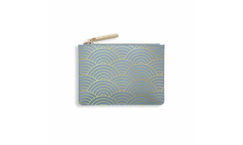 Wave Print Card Holder | Metallic Blue
