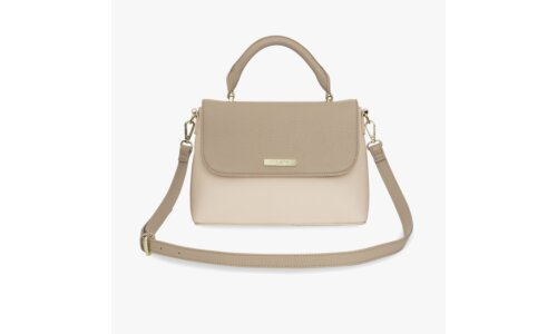 Talia Two Tone Messenger Bag | Taupe And Nude Pink