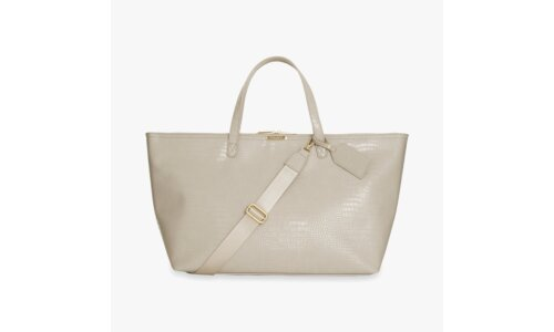 Celine Faux Croc Travel Bag | Oyster Grey