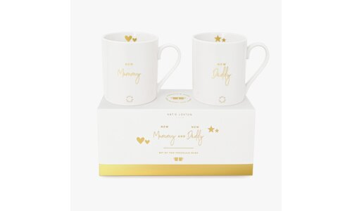 Gift Boxed Mug Set | New Mummy and New Daddy | White and Gold
