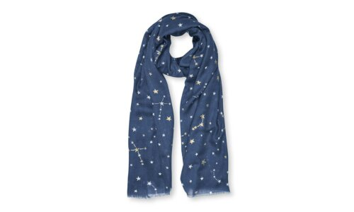 Metallic Scarf | Constellation | Navy