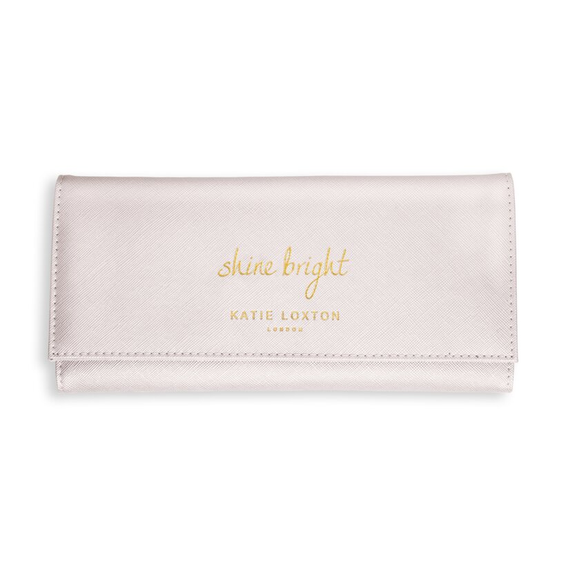 Katie Loxton Bride Womens Vegan Leather Secret Message Pouch Clutch Metallic White