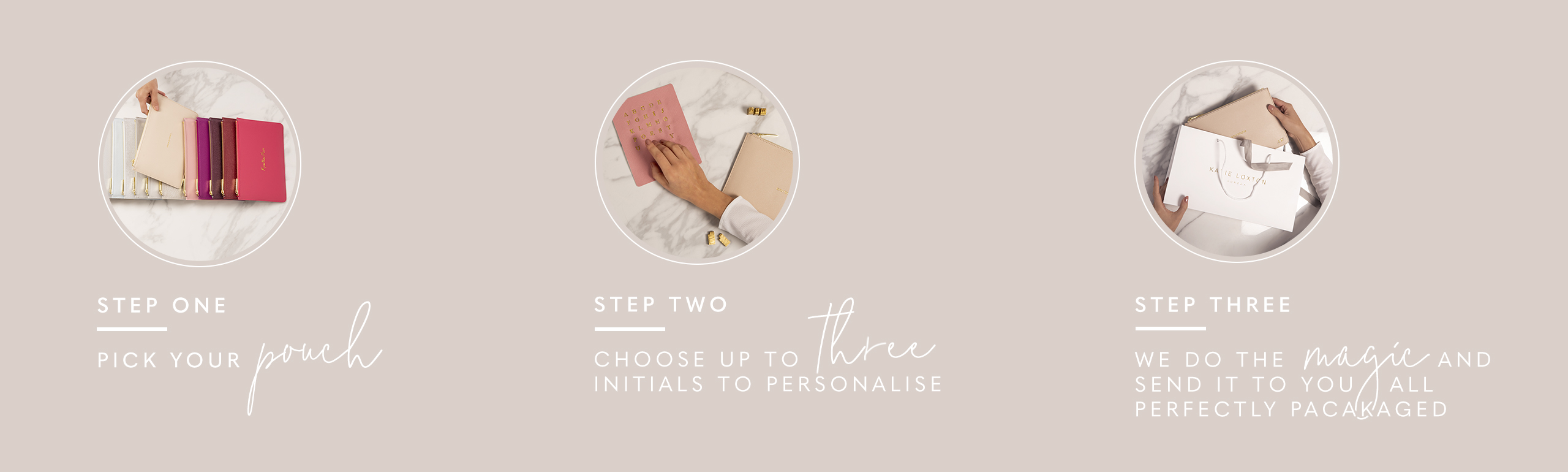 Personalise me - instructions Step one: pick your pouch Step Two: Choose up to three initials to personalise Step Three: Treat yourself or give the perfect gift
