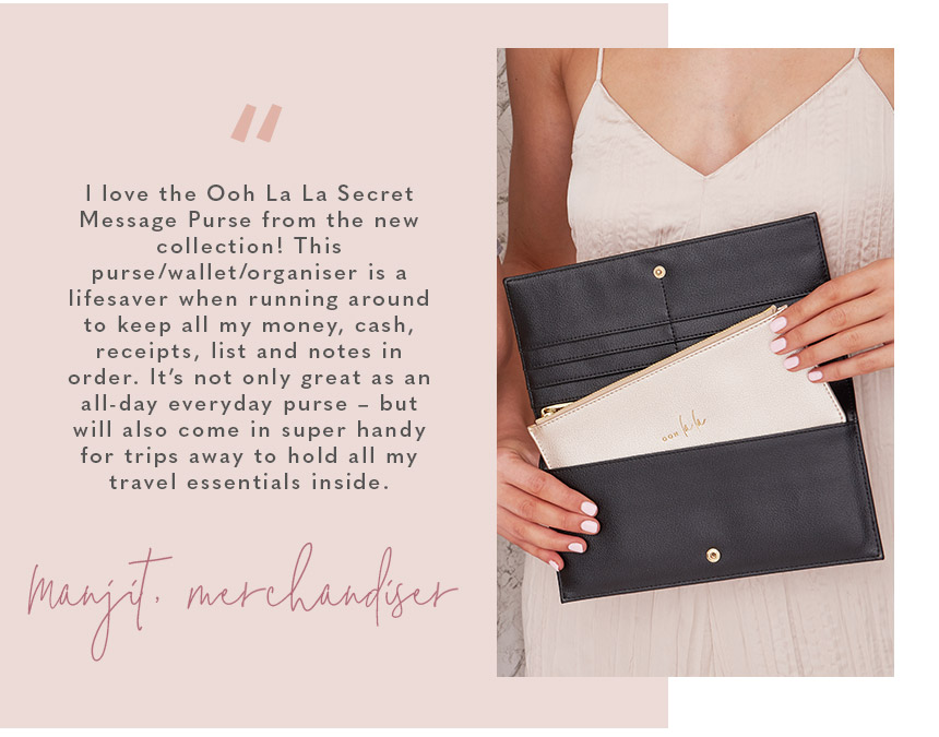 """I love the Ooh La La Secret Message Purse from the new collection! This purse/wallet/organiser is a lifesaver when running around to keep all my money, cash, receipts, list and notes in order. It's not only great as an all-day everyday purse – but will a"