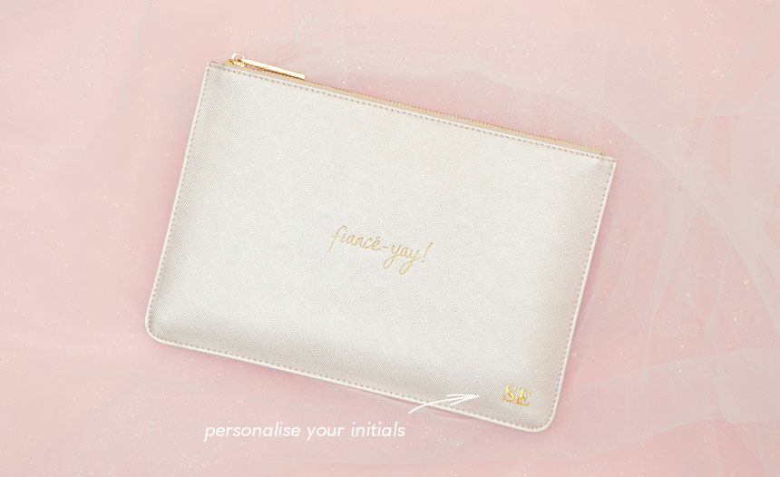 Fiance yay perfect pouch. Personalise with your initials.
