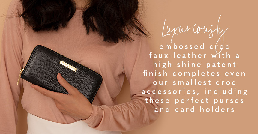 Luxuriously embossed croc faux-leather with a high shine patent finish completes even our smallest croc accessories, including these perfect purses and card holders
