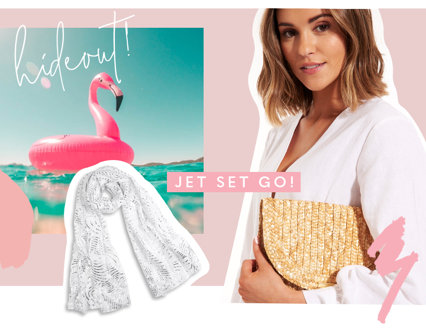 Sofia straw clutch, metallic scarf and image of an inflatable flamingo on water