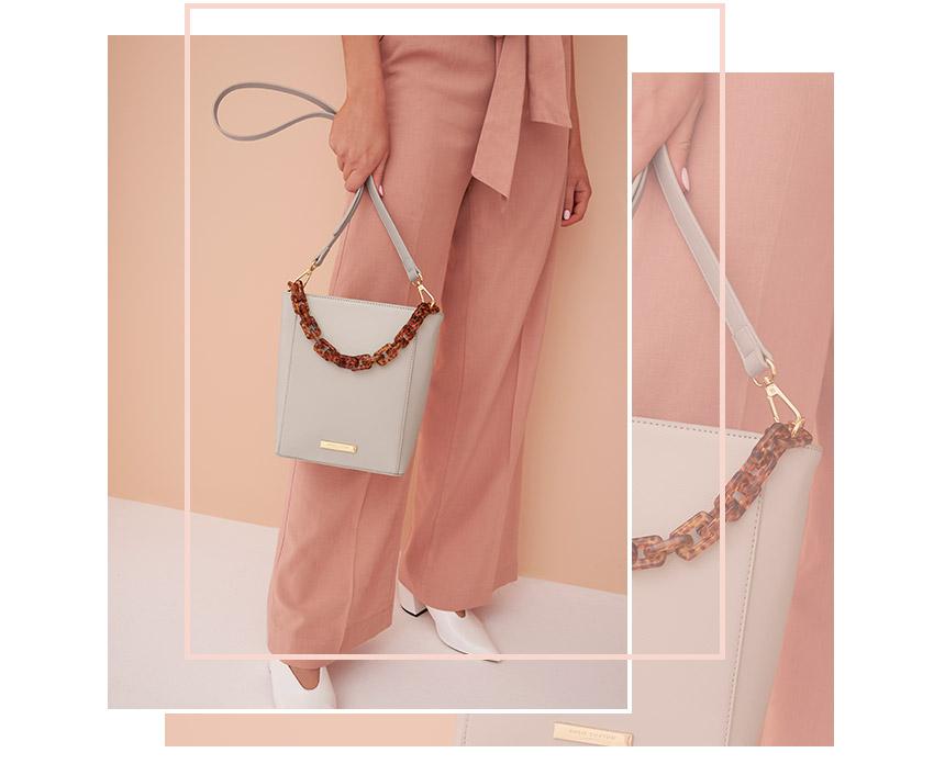 Pale grey Ayla tortoiseshell strap bag