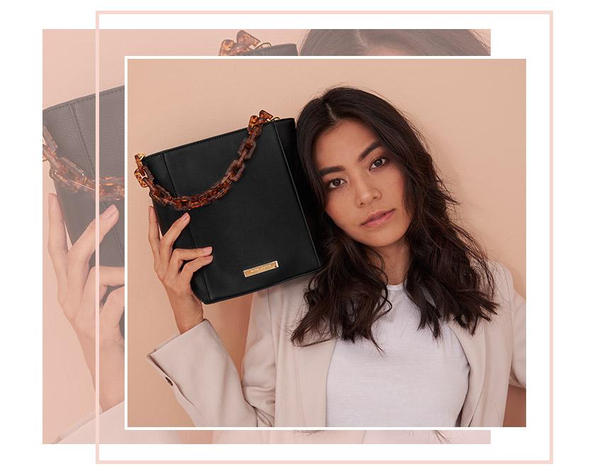 Black Ayla tortoiseshell bag